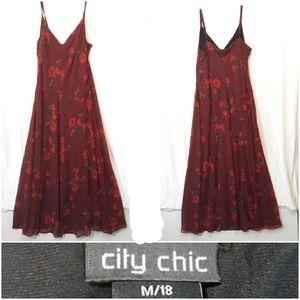 City Chic Floral Plaid Maxi Dress